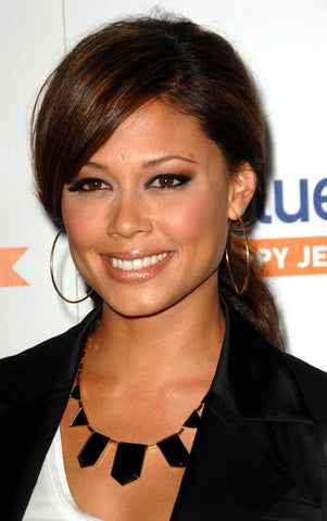 Vanessa Minnillo wearing 1960 House of Harlow Black Triangle Resin Necklace
