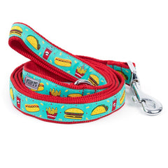 RED AND TEAL FOOD FEST DOG LEASH