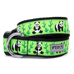 GREEN WITH BLACK TRIM PANDAS DOG COLLAR