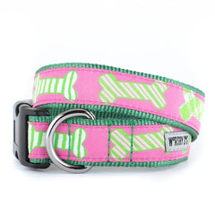 PINK PREPPY DOGB BONE DOG COLLAR