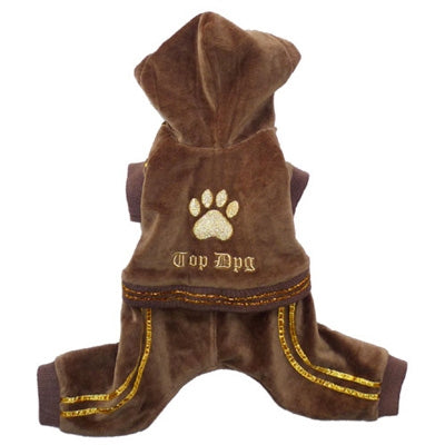 TOP DOG VELOUR JUMPER (BROWN) - doggyDAWGworld.com