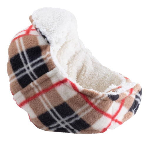 AVIATOR HAT TAN PLAID FLEECE - doggyDAWGworld.com