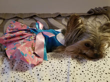 Load image into Gallery viewer, PINK & BLUE PLUMERIA FLORAL HARNESS DRESS (Matching Leash) - doggyDAWGworld.com