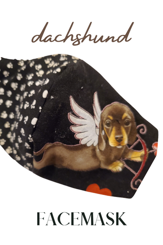 VALENTINES DAY DOG FACEMASK- Dachshund