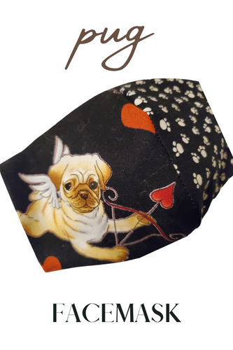 VALENTINES DAY DOG FACEMASK- Pug