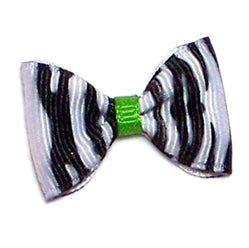 ZEBRA BOW BARRETTE/ LIME ACCENT