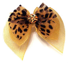 Load image into Gallery viewer, Golden Leopard Fairy Wings Bow - doggyDAWGworld.com