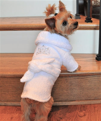 WHITE SILVER TIARA BATHROBE - doggyDAWGworld.com