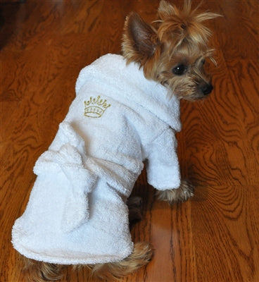 WHITE GOLD CROWNED BATHROBE - doggyDAWGworld.com