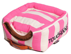 PINK STRIPED TOUCHDOG BED (Convertible&Reversible) - doggyDAWGworld.com