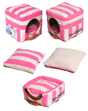 Load image into Gallery viewer, PINK STRIPED TOUCHDOG BED (Convertible&Reversible) - doggyDAWGworld.com