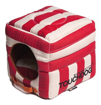 RED STRIPED TOUCHDOG BED (Convertible&Reversible) - doggyDAWGworld.com