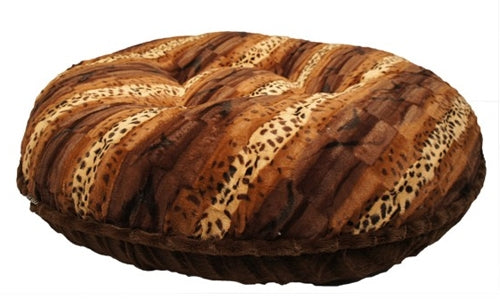 ROUND BEDDING SPECIAL COLLECTION (Exotic Print & Brown Mink) - doggyDAWGworld.com