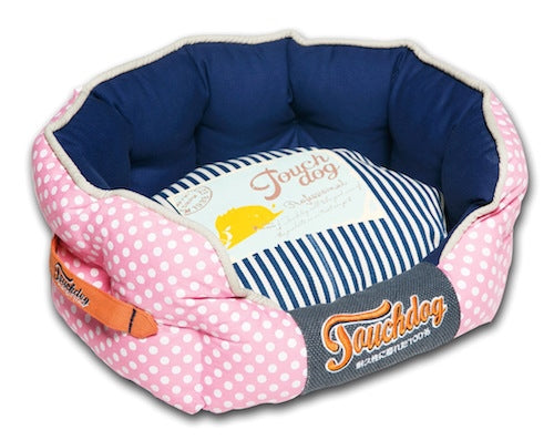 PINK POLKA DOT/NAVY TOUCHDOG BED - doggyDAWGworld.com