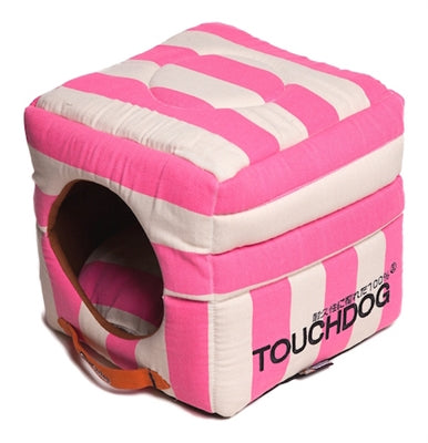 PINK STRIPED TOUCHDOG BED (Convertible&Reversible)