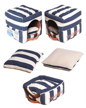 BLUE STRIPED TOUCHDOG BED (Convertible&Reversible)