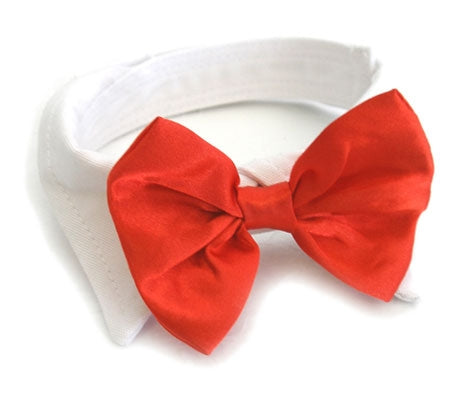 Wedding Bowtie Red Satin w/ White Cotton Collar