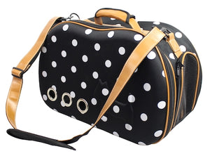 DESIGNER PET CARRIER (BLACK POLKA)