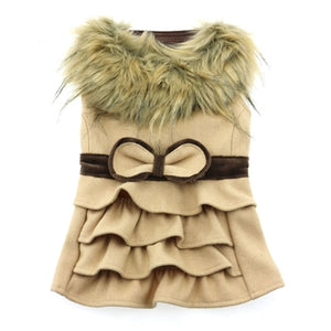 CLASSIC CREAM WOOL COAT HARNESS W/FUR COLLAR - doggyDAWGworld.com