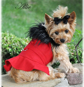 CLASSIC BLACK RED WOOL COAT HARNESS W/FUR COLLAR