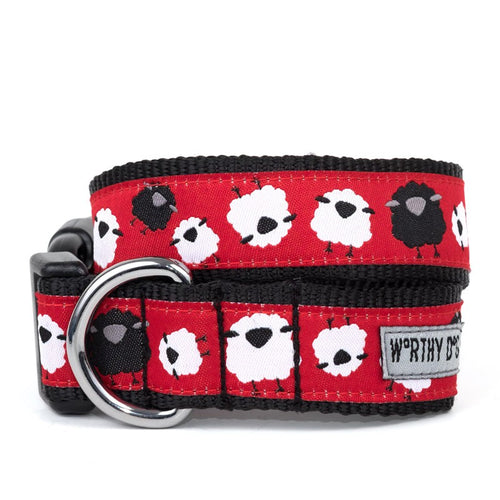 COUNTING SHEEP RED AND BLACK DOG COLLAR