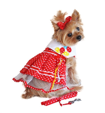 RED DOT BALLOON HARNESS DRESS (Matching Leash)