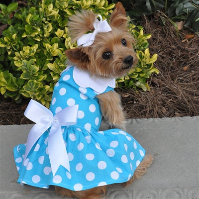 BLUE POLKA DOT DRESS (Matching Leash) - doggyDAWGworld.com