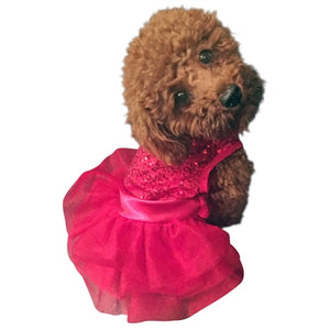 RED SEQUIN FUFU TUTU DOG DRESS