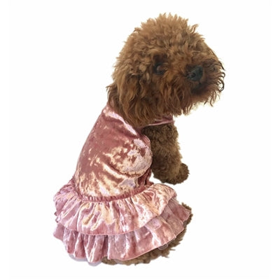 CRUSHING ON YOU BLUSH METALLIC VELVET DRESS - doggyDAWGworld.com