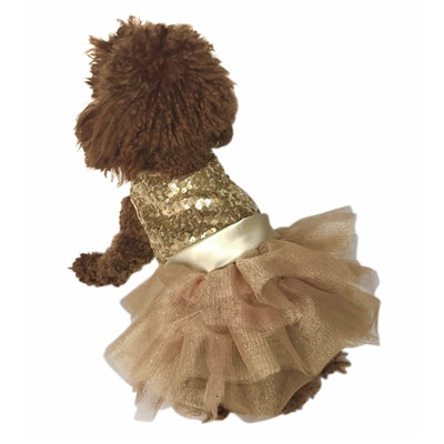MARILYN FUFU TUTU DOG DRESS W/GOLD SEQUIN - doggyDAWGworld.com