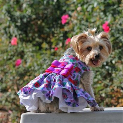PURPLE & RED FLORAL HARNESS DRESS (Matching Leash) - doggyDAWGworld.com