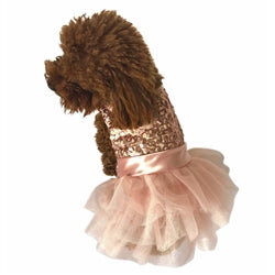 MARILYN FUFU TUTU DOG DRESS W/ROSE GOLD SEQUIN - doggyDAWGworld.com