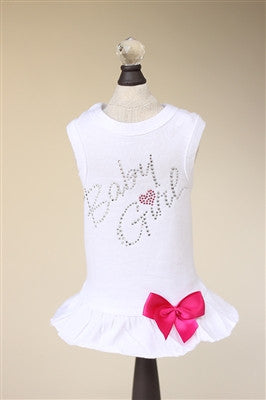 BABY GIRL DRESS WITH BOW   (WHITE) - doggyDAWGworld.com