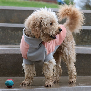 FLEECE DOG COAT CORAL/GREY