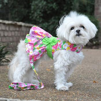 PINK HAWAIIAN FLORAL HARNESS DRESS (Matching Leash)