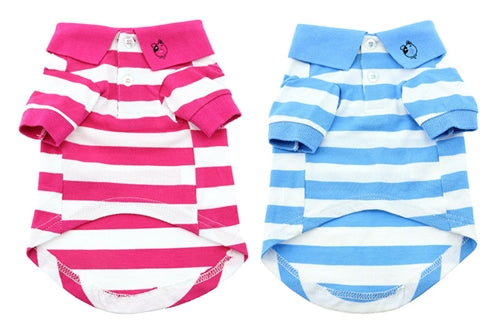 STRIPED POLO SHIRT (BABY BLUE) - doggyDAWGworld.com