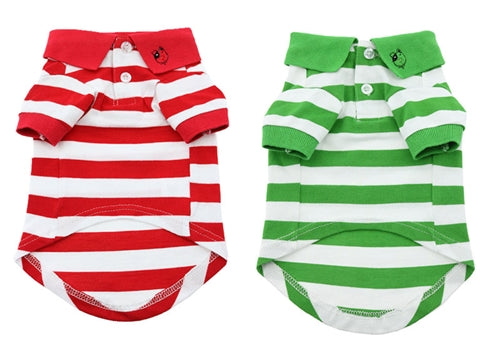 STRIPED POLO SHIRT (RED OR GREEN) - doggyDAWGworld.com