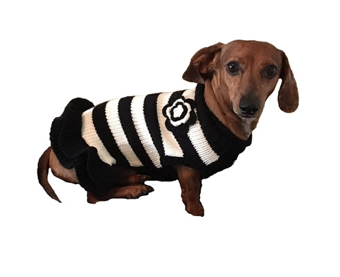 BLACK/WHITE STRIPED SWEATER DRESS - doggyDAWGworld.com
