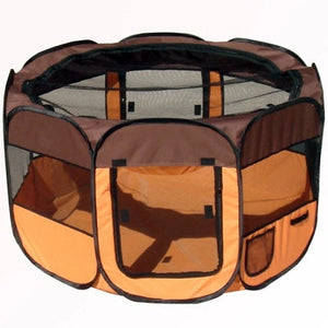 'All-Terrain' Lightweight Easy Folding Wire-Framed Collapsible Travel Dog Playpen (ORANGE/BLACK)