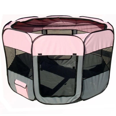 'All-Terrain' Lightweight Easy Folding Wire-Framed Collapsible Travel Dog Playpen (GREY/PINK)