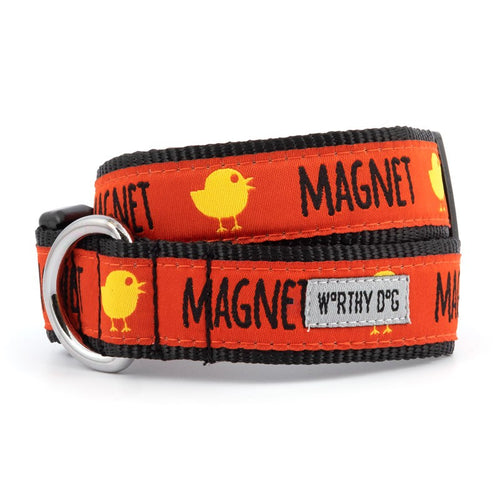 RED WITH YELLOW CHICK MAGNET DOG COLLAR