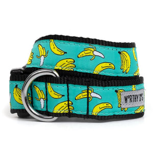 GO BANANAS DOG COLLAR TEAL