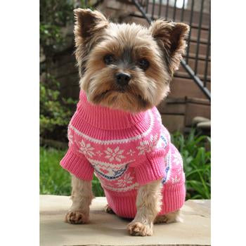 100% COMBED COTTON SNOWFLAKES & HEARTS SWEATER - Pink  (XXS-3XL)