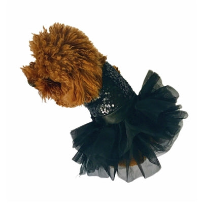 BLACK SEQUIN FUFU TUTU DOG DRESS