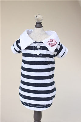 LIPS BUTTON DOWN POLO (BLACK & WHITE) - doggyDAWGworld.com