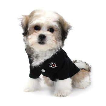 BLACK SOLID POLO DOG SHIRT