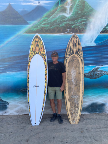 Happy customer with new custom hand-shaped surfboard remake of old surfboard