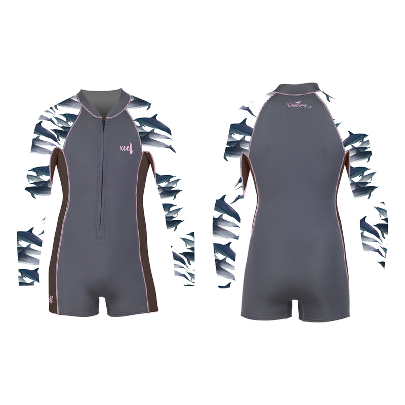 XCEL GIRLS 2mm L/S SPRINGSUIT WITH DOLPHIN PRINT
