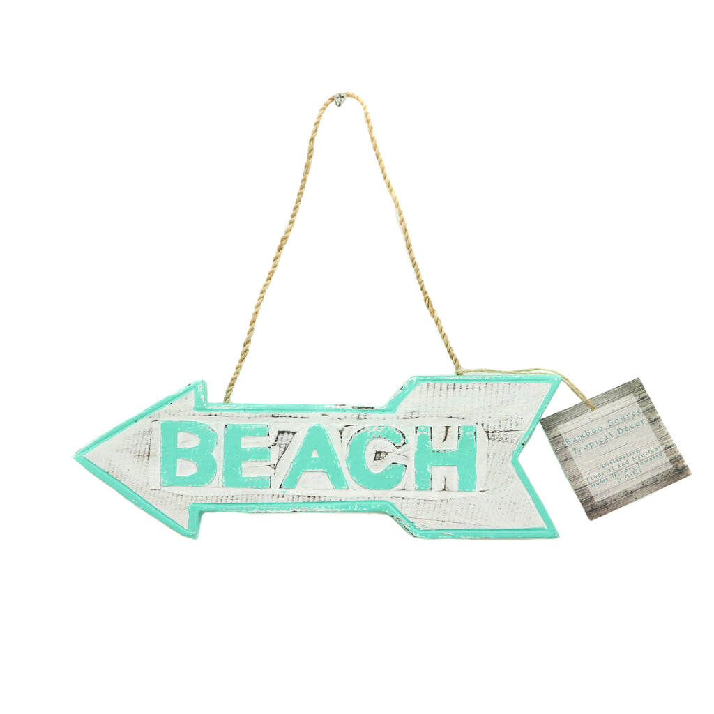 HAND-CARVED WOODEN BEACH SIGN