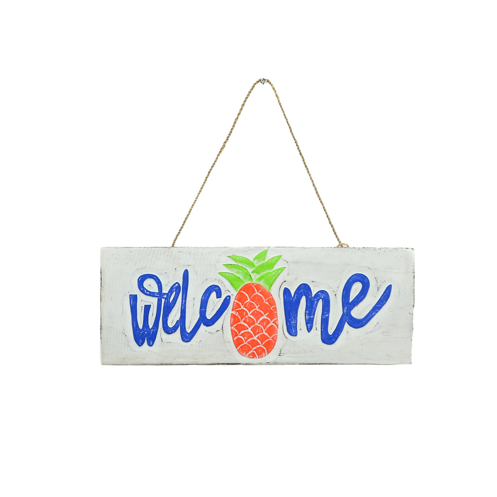 HAND-CARVED WOODEN PINEAPPLE WELCOME SIGN